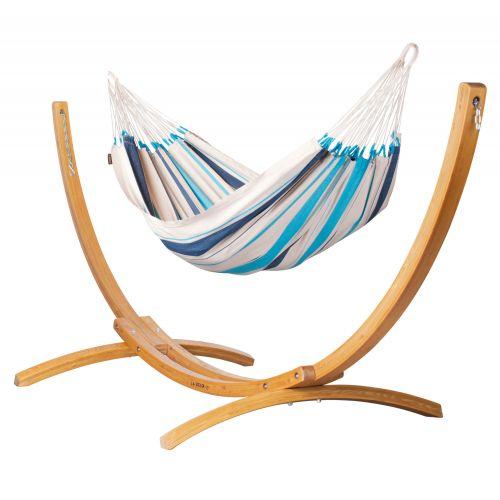 Caribeña Aqua Blue - Eenpersoons klassieke hangmat met standaard van lariks met FSC™-label