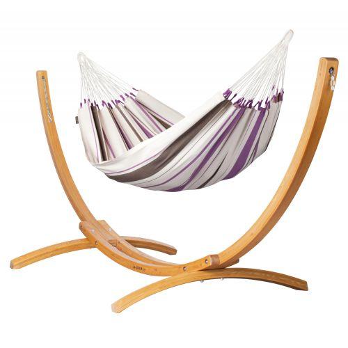 Caribeña Purple - Eenpersoons klassieke hangmat met standaard van lariks met FSC™-label