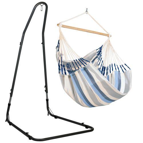 Domingo Sea Salt - Comfort hangstoel met gepoedercoate stalen standaard