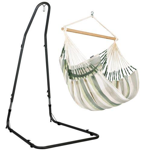 Domingo Cedar - Comfort hangstoel met gepoedercoate stalen standaard