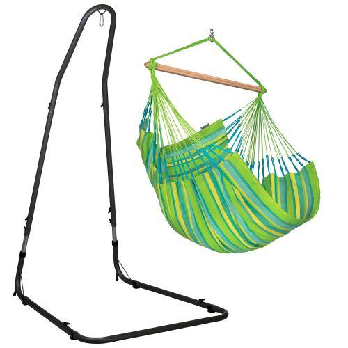 Domingo Lime - Comfort hangstoel met gepoedercoate stalen standaard