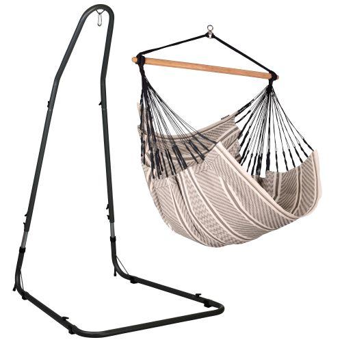 Habana Zebra - Comfort hangstoel met gepoedercoate stalen standaard