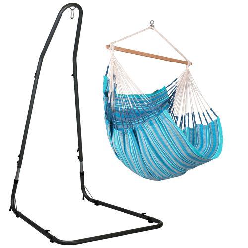 Habana Azure - Comfort hangstoel met gepoedercoate stalen standaard