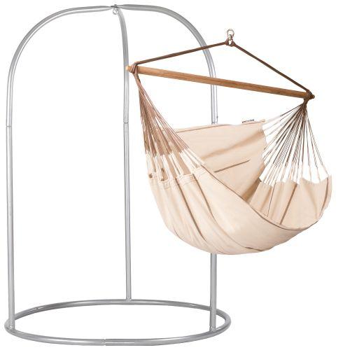Habana Nougat - Lounger hangstoel met gepoedercoate stalen standaard