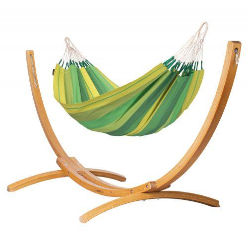 Orquídea Jungle - Eenpersoons klassieke hangmat met standaard van lariks met FSC™-label