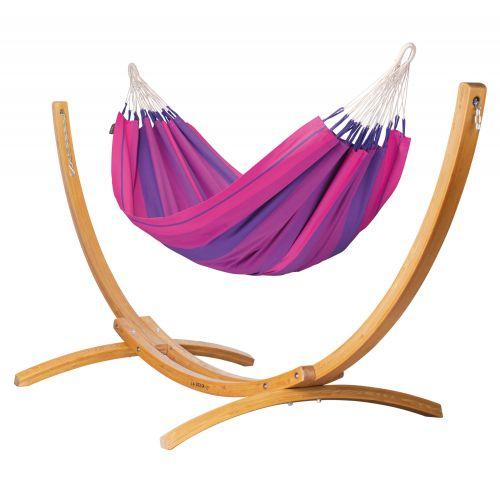 Orquídea Purple - Eenpersoons klassieke hangmat met standaard van lariks met FSC™-label