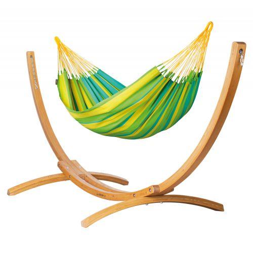 Sonrisa Lime - Eenpersoons klassieke hangmat met standaard van lariks met FSC™-label